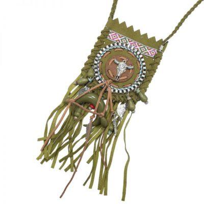 Ketting Boho Bull Skull groen groene lange ketting met klein tasje boho bedels franjes trendy festival kopen details