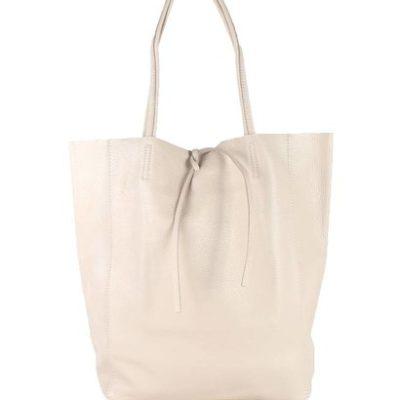 Leren Shopper Simple beige creme nude ruime dames shopper zacht leer online luxe dames tassen italie bestellen