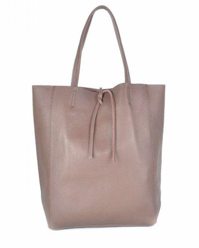 Leren-Shopper-Simple- donker taupe ruime-dames-shopper-zacht-leer-online-luxe-dames-tassen-italie-bestellen