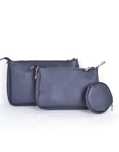 Leren Tas-Trio-Pouch-blauwe blauw-drie-losse-tasjes-kunstleder-look-a-like-3-delige- tassen-kopen-bestellen-trendy-tassen-onlin giulliano