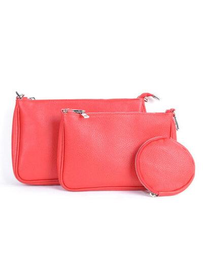 Leren Tas-Trio-Pouch-rood rode-drie-losse-tasjes-kunstleder-look-a-like-3-delige-croco-tassen-kopen-bestellen-trendy-tassen-onlin giulliano