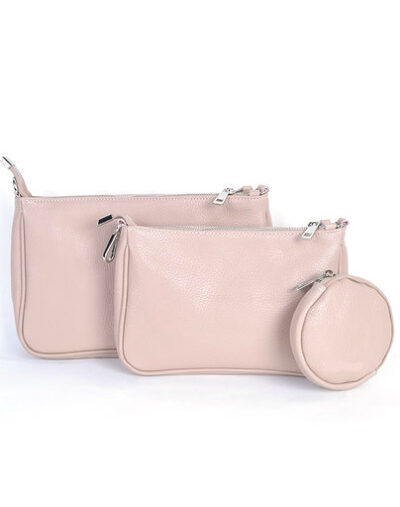 Leren Tas-Trio-Pouch-roze pink-drie-losse-tasjes-kunstleder-look-a-like-3-delige- tassen-kopen-bestellen-trendy-tassen-onlin giulliano