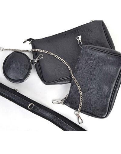 Leren Tas-Trio-Pouch-zwart-zwarte-drie-losse-tasjes-kunstleder-look-a-like-3-delige- tassen-kopen-bestellen-trendy-tassen-onlin giulliano