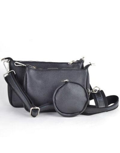 Leren Tas-Trio-Pouch-zwart-zwarte-drie-losse-tasjes-kunstleder-look-a-like-3-delige- tassen-kopen-bestellen-trendy-tassen-online