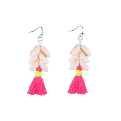 Oorbellen Happy Shells neon roze pink geel koari schelpen oorbellen earrings sieraden kopen bestellen