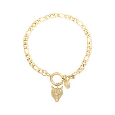 Schakelarmband Wolf goud gouden armbanden wolf bedel trendy sieraden rvs kopen yehwang bestellen