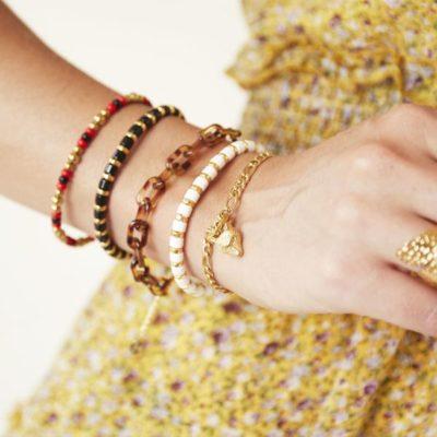 Schakelarmband Wolf goud gouden armbanden wolf bedel trendy sieraden rvs kopen yehwang bestellen fashion