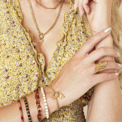Schakelketting Wolf goud gouden kettingen wolf bedel trendy sieraden rvs kopen yehwang bestellen