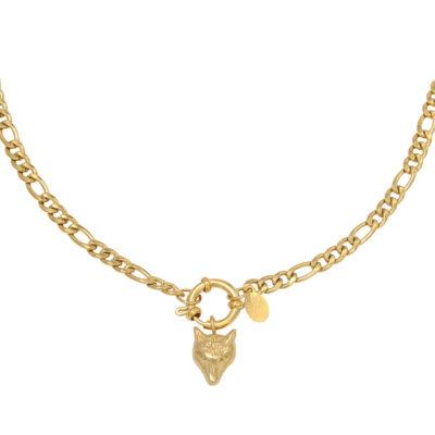 Schakelketting Wolf goud gouden kettingen wolf bedeltje trendy sieraden rvs kopen yehwang bestellen