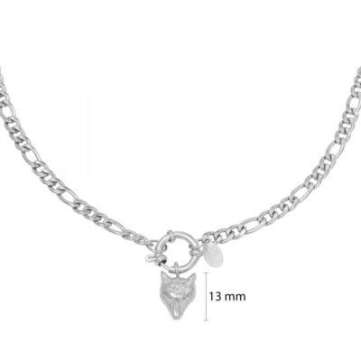 Schakelketting Wolf zilver zilveren kettingen wolf bedel trendy sieraden rvs kopen yehwang bestellen online