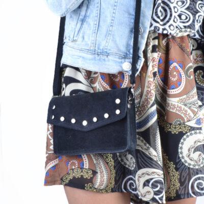 Suede Belt Bag Studs zwart zwarte riemtassen schoudertas heuptassen van suede leer leren met studs losse riem