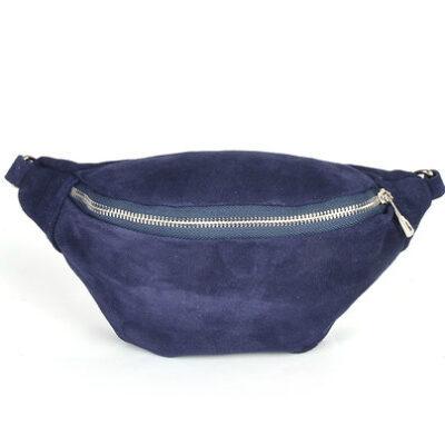 Suede Heuptas Simpel blauw blauwe suede lederen leren heuptassen fannypacks beltbags bumbag kopen