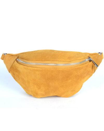 Suede Heuptas Simpel geel gele suede lederen leren heuptassen fannypacks beltbags bumbag kopen