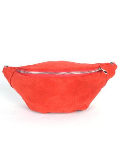Suede Heuptas Simpel rood rode suede lederen leren heuptassen fannypacks beltbags bumbag kopen