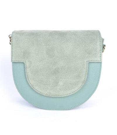 Suede Tas Half a Round blauw blauwe schoudertassen van suede leer trendy pastel kopen bestellen giuliano