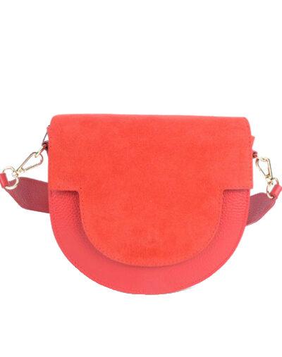 Suede Tas Half a Round rood rode schoudertassen van suede leer trendy pastel kopen bestellen giuliano