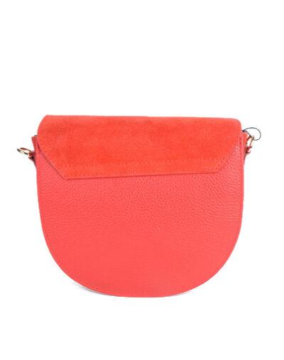 Suede Tas Half a Round rood rode schoudertassen van suede leer trendy pastel kopen bestellen giuliano achter