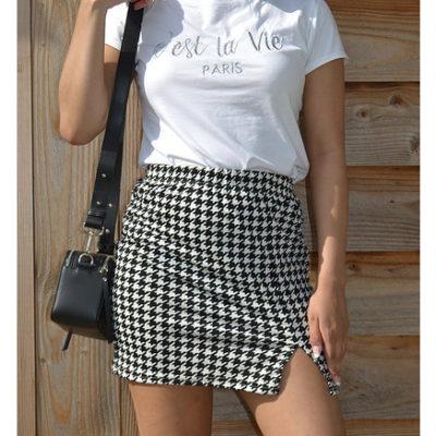 T Shirt C'est La Vie wit witte dames shirt met tekst trendy musthave fashion truitjes kopen bestellen tops fashion kleding kopen