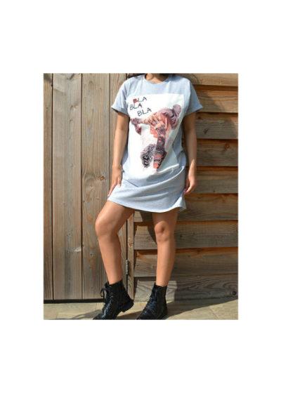 T Shirt Dress Bla Bla Bla grijs grijze lang shirt truitje met trendy fashion print dame tattoe tekst kleding online modemusthaves kopen bestellen