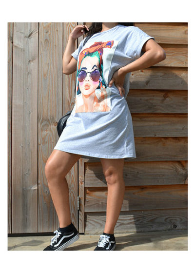 T Shirt Dress Peace grijs grijze lang shirt truitje met trendy fashion print dame bril en peace teken kleding online modemusthaves kopen BESTELLEN