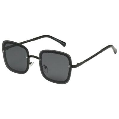 Zonnebril Icon zwart zwarte vierkante damesbrillen gevlochten pootjes trendy musthave fashion sunglasses