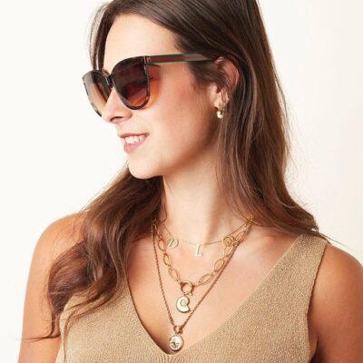 Zonnebril Iconic bruin bruine trendy brillen look a like zonnebrillen met groene & rode strepen kopen yehwang