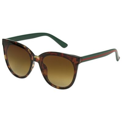 Zonnebril Iconic bruine bruin trendy brillen look a like zonnebrillen met groene & rode strepen kopen yehwang