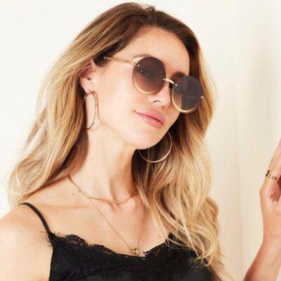 Zonnebril Round Vibes licht bruin bruine trendy zonnebrillen met ronde glazen look a like brillen yehwang kopen