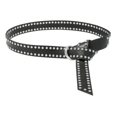Zwarte Riem Twisted Studs zwart riemen zilveren studs trendy fashion accessoires yegwang kopen