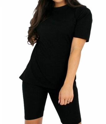 Biker Set Fashion zwart zwart 2 delig broek t shirt set loungewear chill kleding trendy kleding kopen trendy