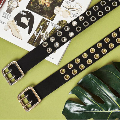 Zwarte Riem Holes zwart riemen gouden open studs oogjes trendy riemen accessoires fashion kopen
