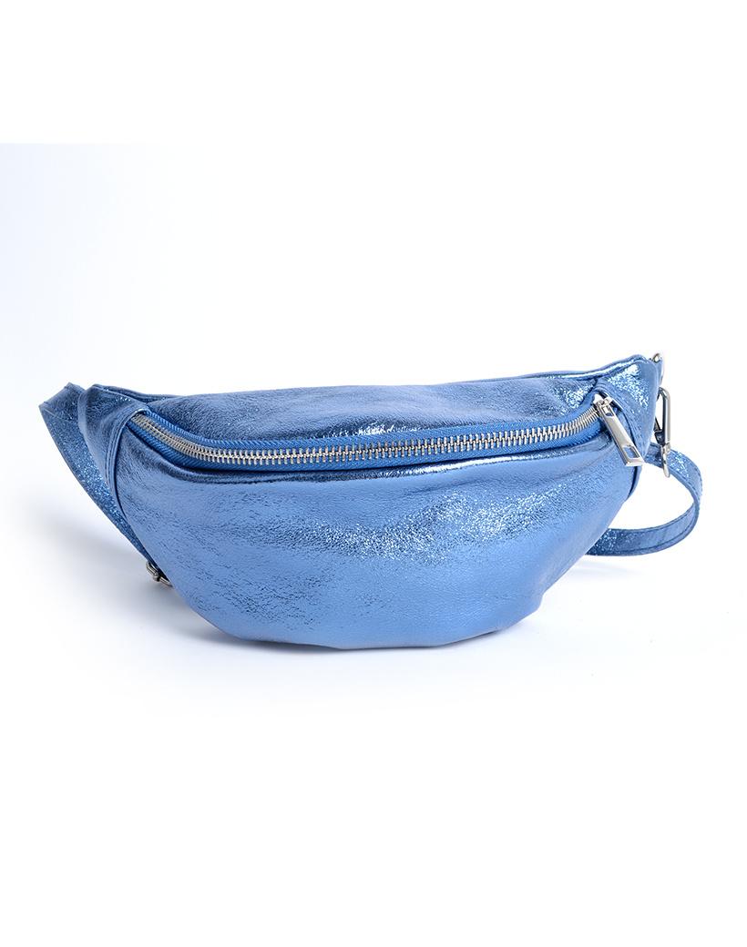 Leren-Heuptas-Metallic-blauw blauwe-heuptassen-fannypacks-van-leer-zilveren-rits-giuliano-kopen-bestellen