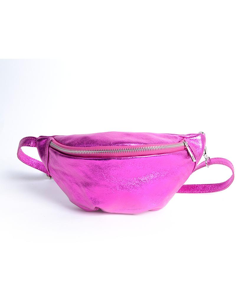 Leren-Heuptas-Metallic-fuchsia heuptassen-fannypacks-van-leer-zilveren-rits-giuliano-kopen-bestellen