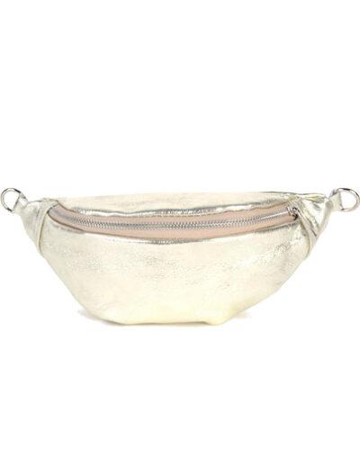Leren Heuptas Metallic goud gouden heuptassen fannypacks van leer zilveren rits giuliano kopen bestellen