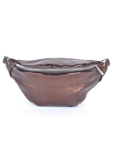 Leren Heuptas Metallic koper copper heuptassen fannypacks van leer zilveren rits giuliano kopen bestellen