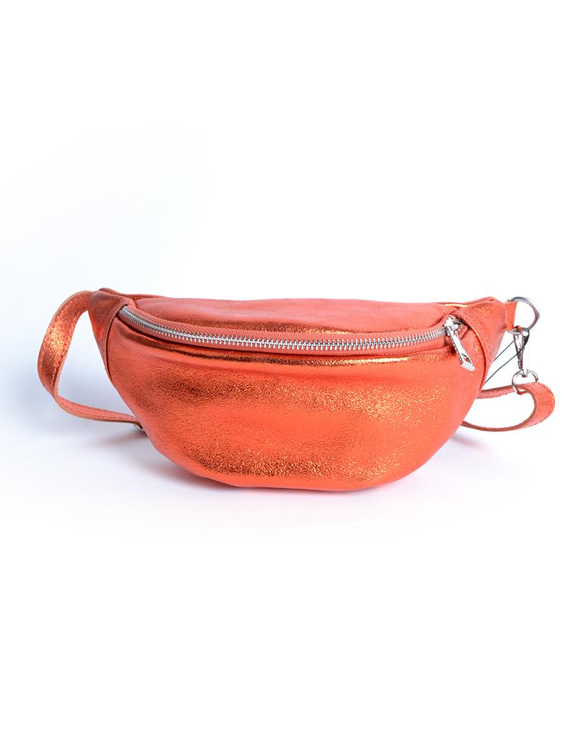 Leren-Heuptas-Metallic-oranje-heuptassen-fannypacks-van-leer-zilveren-rits-giuliano-kopen-bestellen