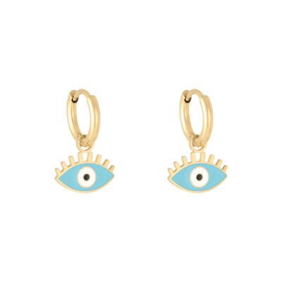 Oorbellen Pastel Eyes goud gouden oorbellen met blauw blauwe oog bedel evil eye oorbellen kopen