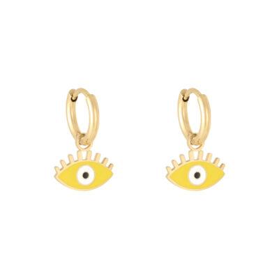 Oorbellen Pastel Eyes goud gouden oorbellen met geel gele oog bedel evil eye oorbellen kopen