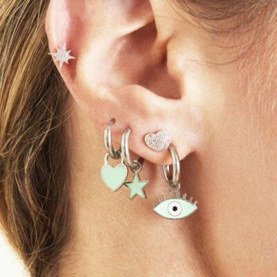 Oorbellen Pastel Eyes stars hart zilveren oorbellen met blauw blauwe oog bedel evil eye oorbellen kopen