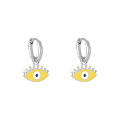 Oorbellen Pastel Eyes zilver zilveren oorbellen met geel gele oog bedel evil eye oorbellen kopen