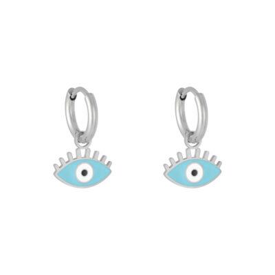 Oorbellen Pastel Eyes zilveren oorbellen met blauw blauwe oog bedel evil eye oorbellen kopen