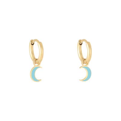 Oorbellen Pastel Moon goud gouden oorbellen met blauw blauwe halve maan moon bedel evil eye oorbellen kopen
