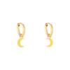 Oorbellen Pastel Moon goud gouden oorbellen met geel gele halve maan moon bedel evil eye oorbellen kopen