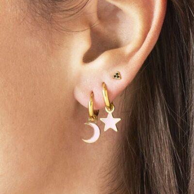 Oorbellen Pastel Moon goud gouden oorbellen met wit witte halve maan moon bedel evil eye oorbellen kopen
