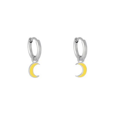 Oorbellen Pastel Moon goud zilver zilveren met geel gele halve maan moon bedel evil eye oorbellen kopen
