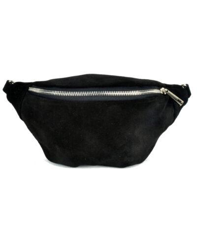 Suede Heuptas Trendy zwart zwarte heuptassen fannypacks van suede leer zilveren rits giuliano kopen bestellen