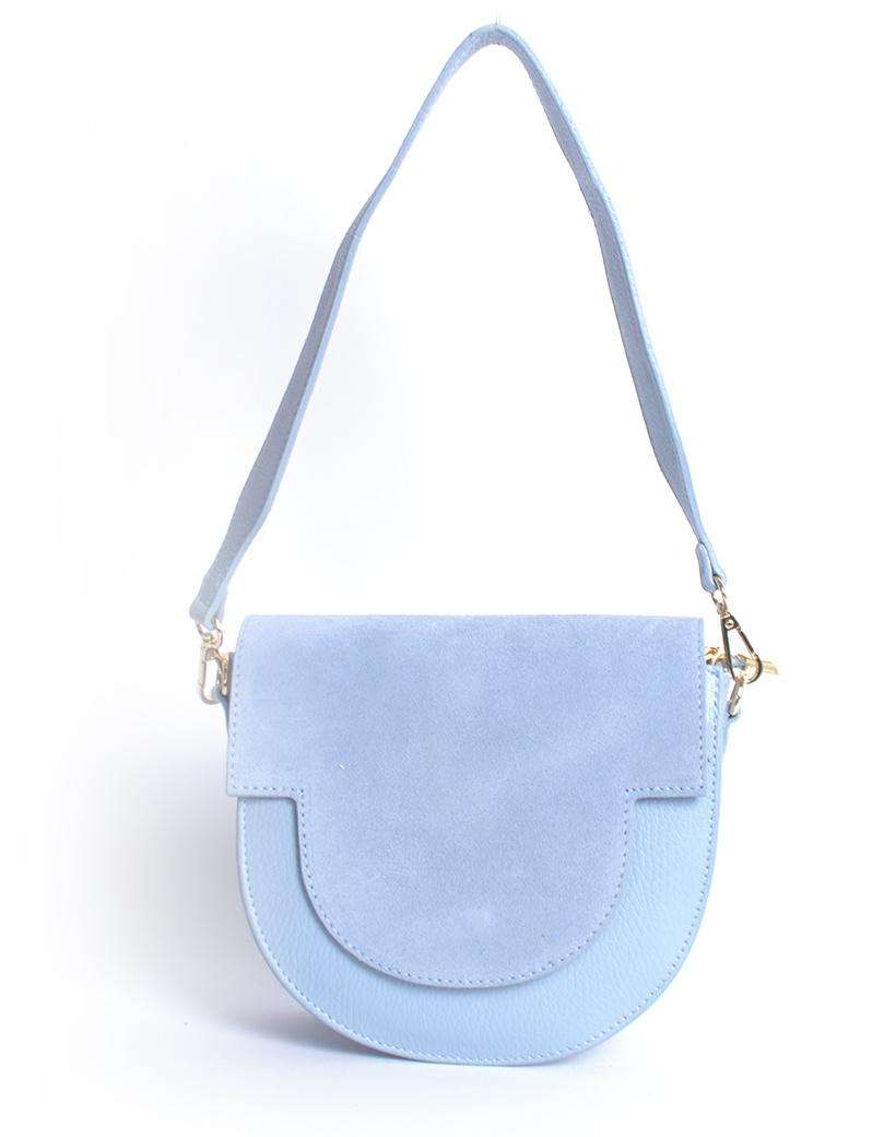 Suede Tas Half a Round licht blauw blauwe schoudertassen van suede leer trendy pastel kopen bestellen giuliano