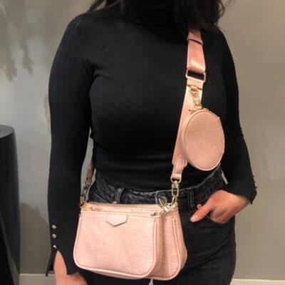 Tas-Trio-Pouch Croco roze pink4-drie-losse-tasjes-kunstleder-look-a-like-3-delige-croco tassen-kopen-bestellen-trendy-tassen-onlin