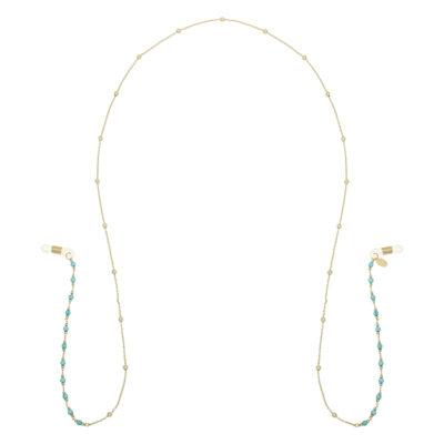 Zonnebrillen Koord Hawaii goud gouden brillenkoord met mint blauwe kraaltjes sunglass cords kopen