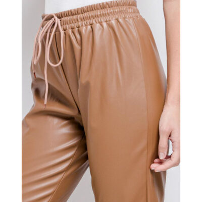 Khaki-Leren-Jogger-faux-leather-jogger-dames-broeken-trendy-joggingbroek-leren-kopen-fashion